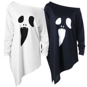ハロウィン コスプレ tシャツ おばけ 面白 仮装 コスチューム 幽霊 Tシャツ 長袖 おもしろ ゴースト 衣装 大きいサイズ|goovice