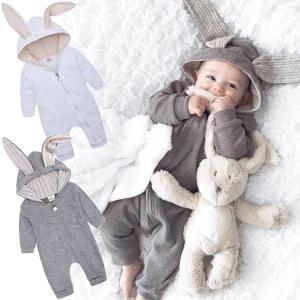 赤ちゃん 着ぐるみ うさぎ ロンパース あったか ベビー 服 ハロウィン 衣装 ウサギ カバーオール 仮装 コスプレ|goovice