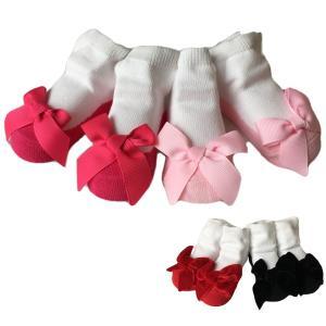 ベビー 靴下 赤ちゃん 靴下 セット 2足入り ベビー ソックス 女の子 くつ下 リボン|goovice