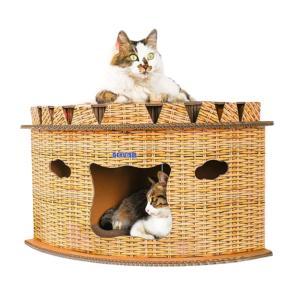 キャットハウス ダンボール 猫 ハウス キャットタワー 爪とぎ 猫用 家 子猫 ドーム型 ベッド ペ...