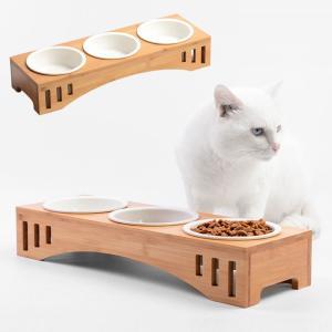 猫 食器 猫用 3匹 餌入れ ねこ 水飲み 水 皿 えさ 入れ 水入れ ボウル 子猫 食器台 陶器 ...
