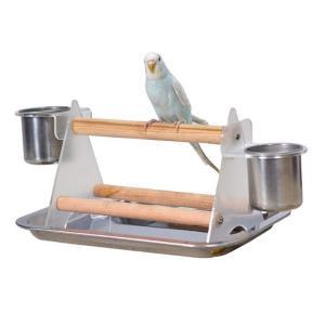 インコ ケージ 止まり木 スタンド 鳥 とまり木 鳥かご グッズ 小鳥 遊び場 食器 付き