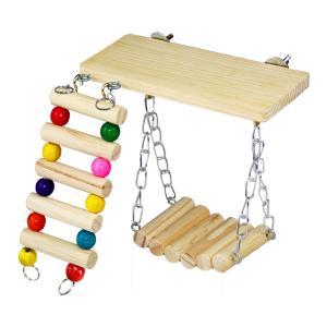 インコ おもちゃ 吊り下げ 鳥 止まり木 ブランコ 木製 かわいい 小鳥 とまり木 はしご セキセイ...