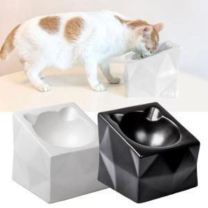 猫 食器 陶器 食べやすい 猫用 フードボウル スタンド 脚付 セット ねこ 食事 皿 傾き 子猫 ...