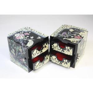 螺鈿 らでん 孔雀 宝石箱 伝統工芸品 引き出し付  黒 A04-bird-blk|gorgeous-ya