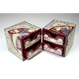 螺鈿 らでん 孔雀 宝石箱 伝統工芸品 引き出し付 赤レッド A04-bird-red|gorgeous-ya