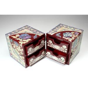 螺鈿 らでん 牡丹 宝石箱 伝統工芸品 引き出し付 赤レッド A04-flw-red|gorgeous-ya