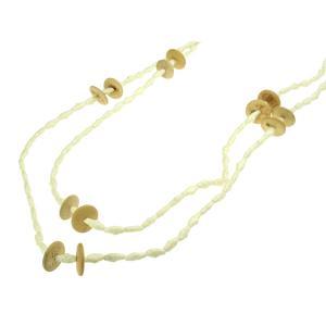 じゃらロングネックレス 12 ホワイト ビーズ ウッド ピース beads12 プレゼント|gorgeous-ya
