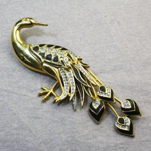 アニマルブローチ ビッグサイズ クジャク 大きな孔雀 バード 鳥 ゴールド ブラック スワロフスキー bro12a-13 プレゼント|gorgeous-ya