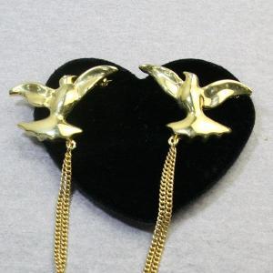 アニマルブローチ 幸せを運ぶ2羽の鳩 ハト ゴールド チェーン スワロフスキー bro12a-14 プレゼント|gorgeous-ya