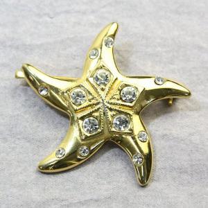 アニマルブローチ ヒトデ ゴールド 大きなヒトデ スワロフスキー bro12a-35 プレゼント|gorgeous-ya