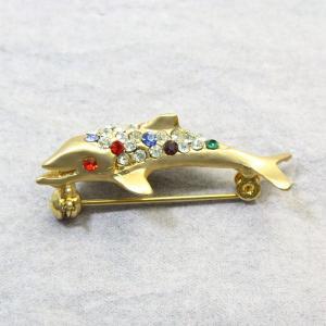アニマルブローチ イルカ ゴールド マルチカラー スワロフスキー bro12a-38 プレゼント|gorgeous-ya
