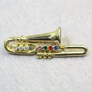 音楽系アクセサリー楽器ブローチ トロンボーン ゴールド スワロフスキー bro12m-02 プレゼント|gorgeous-ya