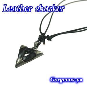 チョーカー ネックレス レザー 本革 トライアングル 三角形 黒 ブラック dbl21v プレゼント|gorgeous-ya