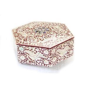 螺鈿 らでん 漆器 菓子器 高級ジュエリーケース  六角形 赤 E21|gorgeous-ya