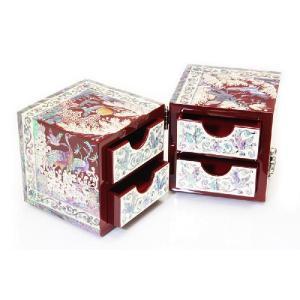 螺鈿 らでん 鶴 蝶 赤 2段 引き出し付 木目調 伝統工芸美術品 宝石箱 リングケース E31|gorgeous-ya