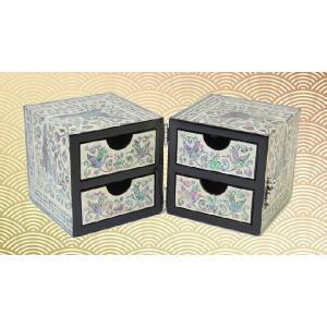 らでん螺鈿 韓国伝統技術 ひきだし付き 宝石箱 ジュエリーボックス 舞い踊る鶴 白地 E44|gorgeous-ya