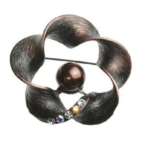 クリスタル パール メビウスの帯 ブローチ ブロンズ ec6-2b プレゼント|gorgeous-ya