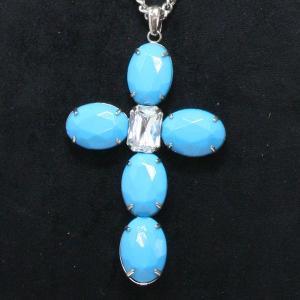 ゴージャスペンダント 大きなストーンが印象的なクロスネックレス 十字架 ブルー/クリア gneck-11-06 プレゼント gorgeous-ya