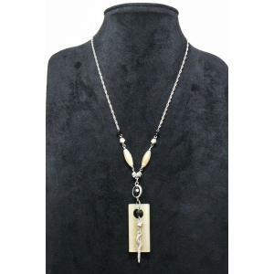 ゴージャスペンダント スクエアのオブジェ ブラック シルバーフラワー ネックレス gneck-11-50 プレゼント gorgeous-ya
