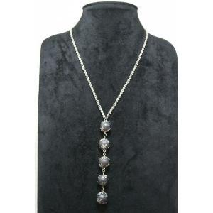 ゴージャスペンダント シルバー 数珠つなぎ ブラック ロングネックレス gneck-11-54 プレゼント gorgeous-ya