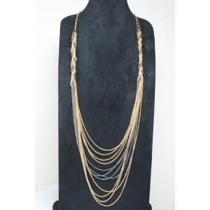 チェーンネックレス ブラック&ゴールドカラー ロングネックレス gneck-11-87 プレゼント|gorgeous-ya