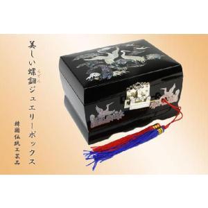 螺鈿らでん 宝石箱 ジュエリーボックス オルゴール 鏡台 鍵付き 黒 J6bk|gorgeous-ya