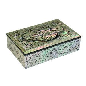 螺鈿 らでん 鶴 韓国 伝統工芸美術品 高級ジュエリーケース 四角形 黒 J8blk|gorgeous-ya