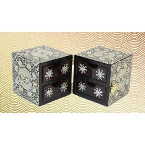 らでん螺鈿 韓国伝統技術 ひきだし付き 宝石箱 ジュエリーボックス 太極模様 向かい合う鶴 黒地 K42|gorgeous-ya