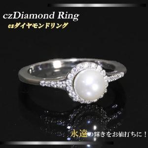 ゴージャスキュービックジルコニアリング 大きなパールを囲む繊細なCZダイヤモンドリング 9号/11号/13号/15号  mir11r-03|gorgeous-ya