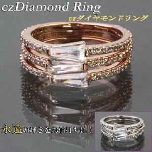 指輪 リング CZダイヤモンド ピンクゴールド シルバー トライアングルカット メレダイヤ トリプルデザイン 3本組 9 11 13号|gorgeous-ya