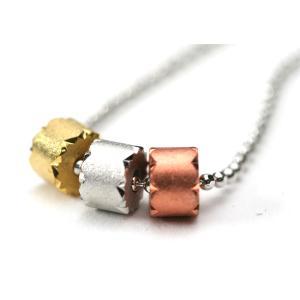 プチネックレス トリプルカラー ゴールド シルバー ブロンズ リング 01 プレゼント|gorgeous-ya