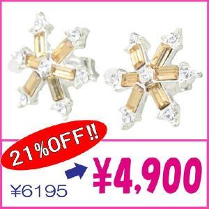 CZダイヤモンドピアス  チタンポスト アレルギーフリー  スクエアカット 雪の結晶 カラー2色ホワイト・ブラウンosg12p-01 プレゼント|gorgeous-ya