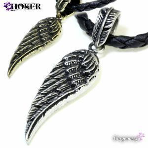 チョーカー メンズ ウィング つばさ 翼 チョーカーネックレス ブラック 黒 ゴールド シルバー プレゼント|gorgeous-ya