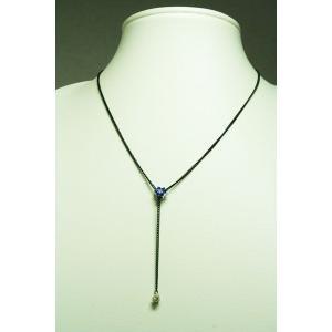 フラワースワロプチネックレス かわいいお花デザイン 3色ブルー/ダークブルー/ホワイトブラックチェーン pneck-12-18 プレゼント|gorgeous-ya