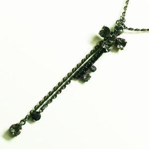 キーネックレス ブラックチェーン 四つ葉のフラワーがキーの形に 鍵ブラック/ピンクpneck-12-23 プレゼント|gorgeous-ya