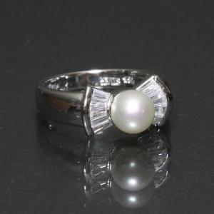 リング 指輪 CZダイヤモンド キュービックジルコニアが輝くゴージャスリング かわいいリボンデザイン わけあり品 アウトレット ring-11-02pearl|gorgeous-ya
