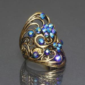 リング 指輪 ブルーのスワロフスキーが輝くゴージャスゴールドリング わけあり品 アウトレット ring-11-03blug|gorgeous-ya