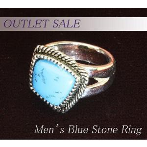 【アウトレット】指輪 ターコイズ風 ブルーストーン メンズリング ring-13-08|gorgeous-ya