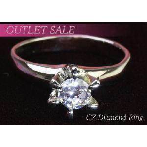 【アウトレット】指輪 0.5カラットczダイヤモンド 立て爪ひと粒ダイヤリング ring-13-35|gorgeous-ya