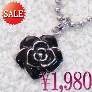 プチネックレス ローズ バラ 薔薇 ブラック 黒色 ボールチェーン roseL-blk プレゼント|gorgeous-ya