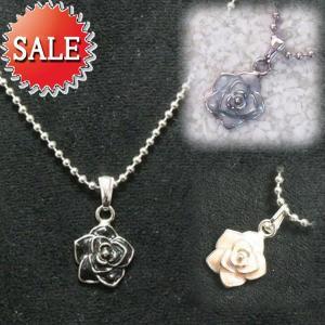 プチネックレス ミニローズ バラ 薔薇 ブラック/桃/水色 ボールチェーン roseS プレゼント|gorgeous-ya