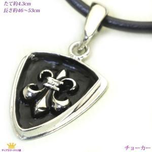 チョーカー メンズ リリー 紋章 ブラックプレート チョーカーネックレス プレゼント|gorgeous-ya