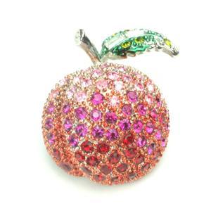 りんご アップル ブローチ スワロフスキー クリスタル 立体 プレゼント|gorgeous-ya