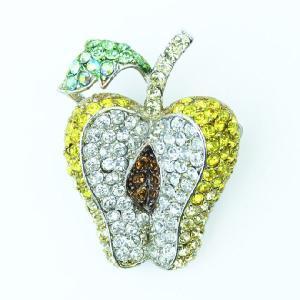 黄色 りんご アップル ブローチ イエロー スワロフスキー クリスタル プレゼント|gorgeous-ya