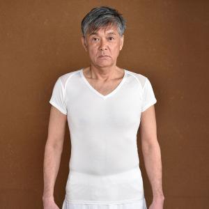 高機能 Vネックシャツ 肌着 メンズ 男性用 春夏用 洗える 日本製 [ひだまり涼 すずみ 紳士Vネックシャツ (M-LL)] 父の日|gosaido