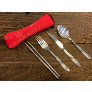 ナイフ フォーク スプーン 箸の4点セット。全て衛生的なステンレス素材です。 しかも専用ケース付きで...