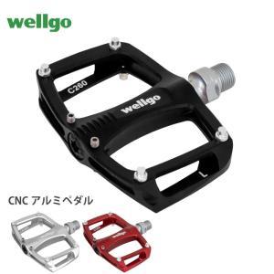 A【あすつく】Wellgo ウェルゴ 自転車ペダル 自転車 滑りとめピン付き CNC アルミペダル ...