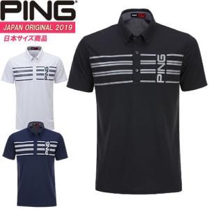 ピンアパレル PING ボーダープリント半袖ポロシャツ BORDER PRINT BD POLO メンズ 全3色 S-XL 34602|gp-store