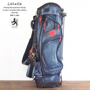 ラヘラゴルフ lahella golf ヴィンテージデニムスタンドキャディバッグ 8.5インチ カラー:ネイビー(レザーカラー:レッド) L511|gp-store